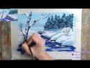 Рисуем зимний пейзаж с речкой гуашью