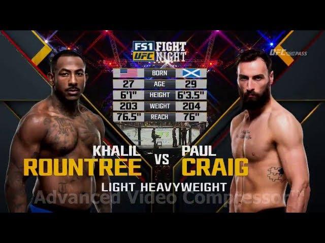 UFC FIGHT NIGHT 113 ROUNTREE VS CRAIG