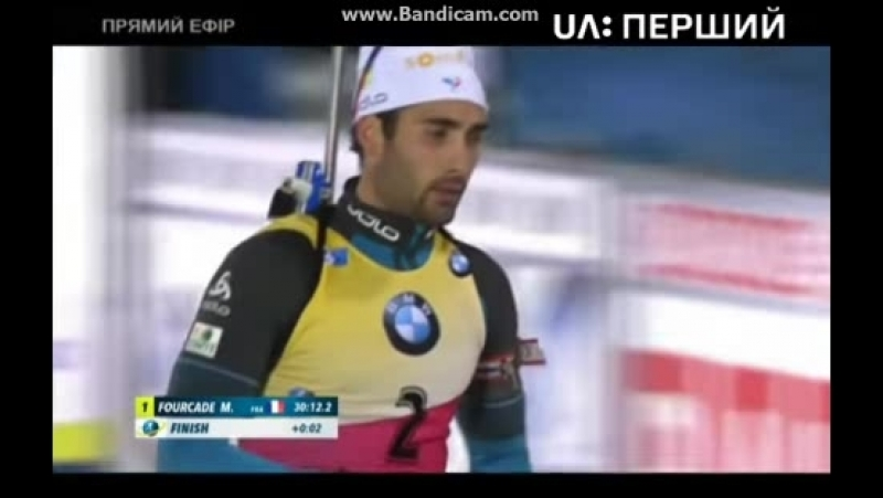 The Martin Fourcade winning and the Jakov Fak and Maillet finishes in the Ostersund's pursuit race on the UA Pershiy channel