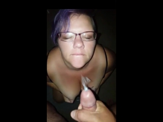 Purple haired bbw wife takes hubbys thick cumshot on her face