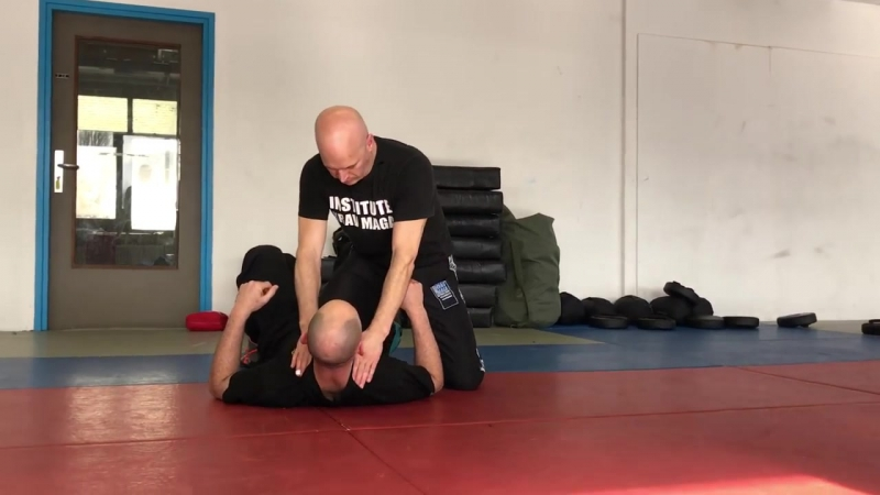 Release from Ground Choke from the Side, with Amnon Darsa at Institute Krav Maga