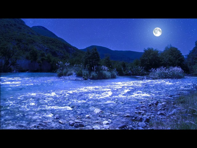 Relaxing Sleep Music with River and Moon at Night 🌙 Slow Music for Sleeping