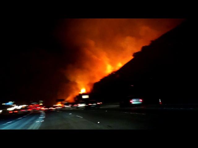 Fire on 91 Fwy. Corona. CA