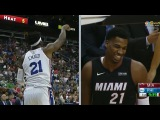 Joel Embiid Tells Heat Bench Whiteside Cant Guard Him October 13 2017 2017 NBA Preseason