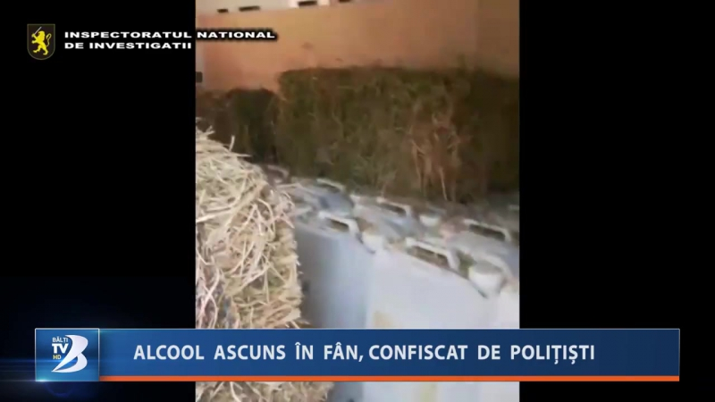 ALCOOL ASCUNS ÎN FÂN, CONFISCAT DE POLIȚIȘTI