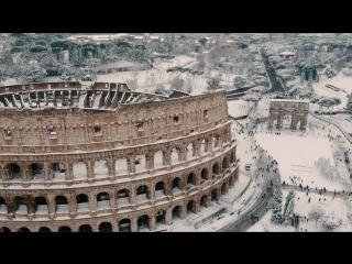 Уникальные съемки Рима с высоты птичьего полета. В Вечном городе 26 февраля 2018 года впервые за 5 лет выпал снег!