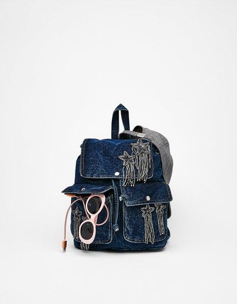 Джинсовый рюкзак со звездами