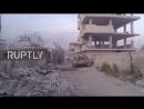 Т-90 и другая бронетехника на участке прорыва сирийской армии в Восточной Гуте (11 марта 2018) :