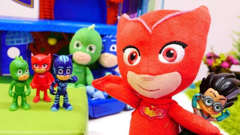 El elixir para PJ Masks. Héroes en pijamas. Juguetes peluches.