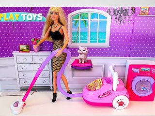 Barbie Doll House Playing Washing Machine Laundry, Vacuum Cleaner Toys for Kids!