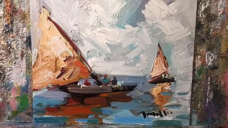 How to Paint Sailboats and Seascape - Loose Brush Style by Artist JOSE TRUJILLO