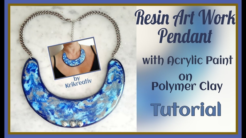Resin Art Work Pendant with Acrylic Paint on Polymer Clay, Tutorial