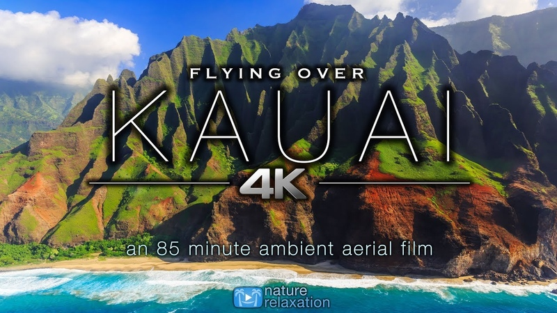 FLYING OVER KAUAI (4K) Hawaiis Garden Island | Ambient Aerial Film Music for Stress Relief 1.5HR