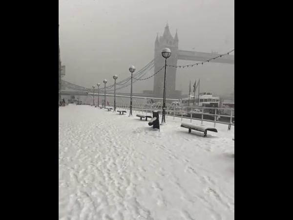 Tower Bridge London in Snow. Beautiful Scene