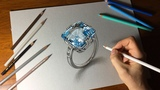Drawing Tutorial - How to Create a Sketch Outline and Draw a White Gold Ring