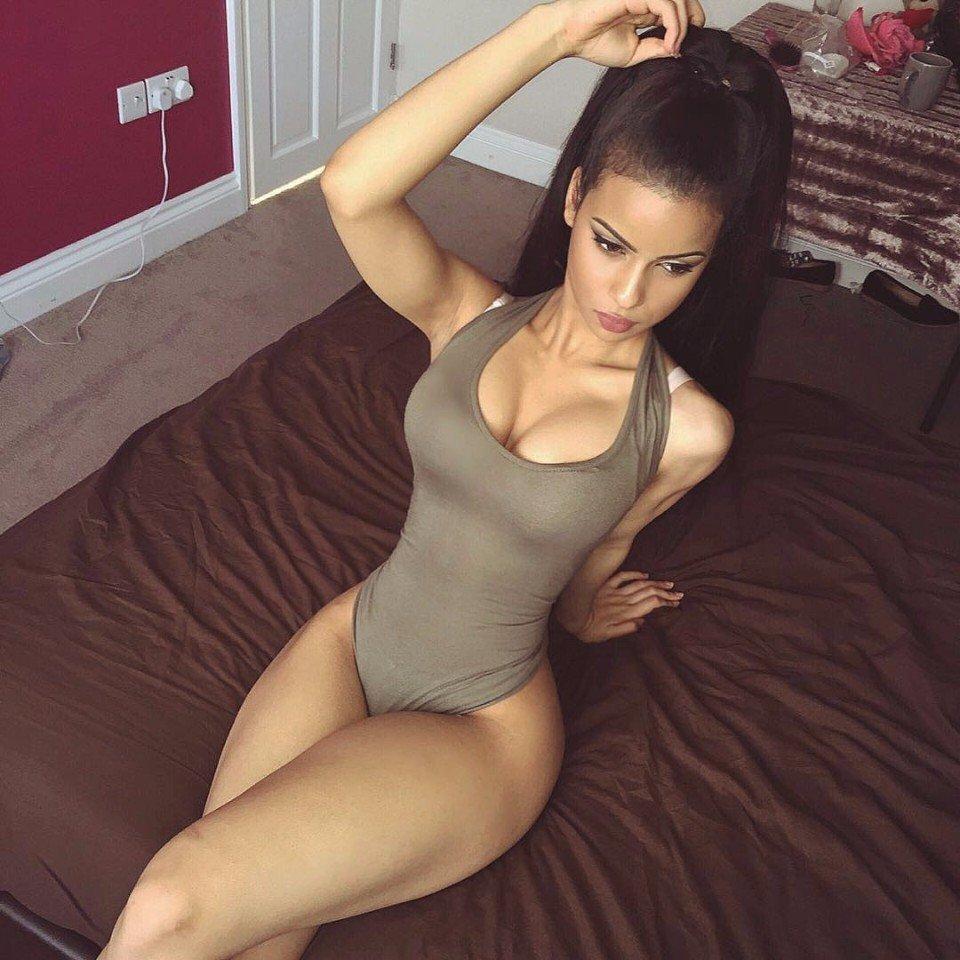 Skinny russian brunette masturbates