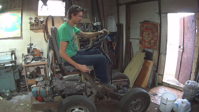 Мини трактор часть 2 коробка рулевое рама мотор