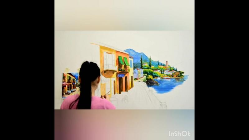Роспись стены (полное видео процесса)