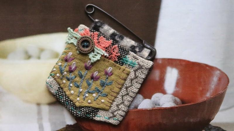 퀼트 자수 브로치 만들기 │Hand Quilt Embroidery │Fabric Flower Pin Brooch│DIY Craft Tutorial