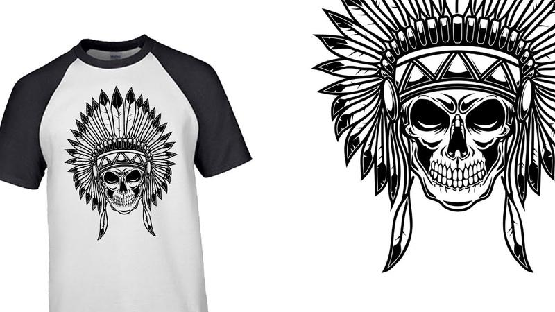 Рисуем индейский череп в Adobe Illustrator/ Native indian skull in Adobe Illustrator