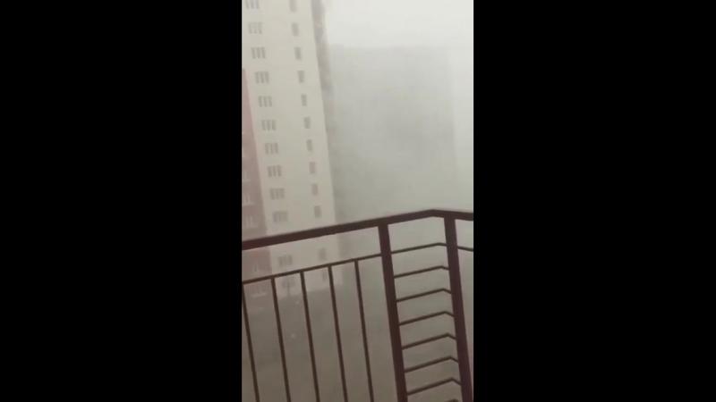 Сегодня на Западном обходе Краснодара, шквалистый ветер и дождь с градом