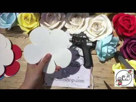 VIDEO 54 Hoa hồng ghép 5 cánh bằng giấy mỹ thuật