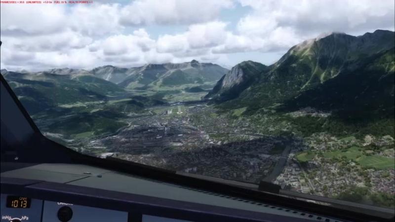 A320X Flight Sim Labs above Innsbruck