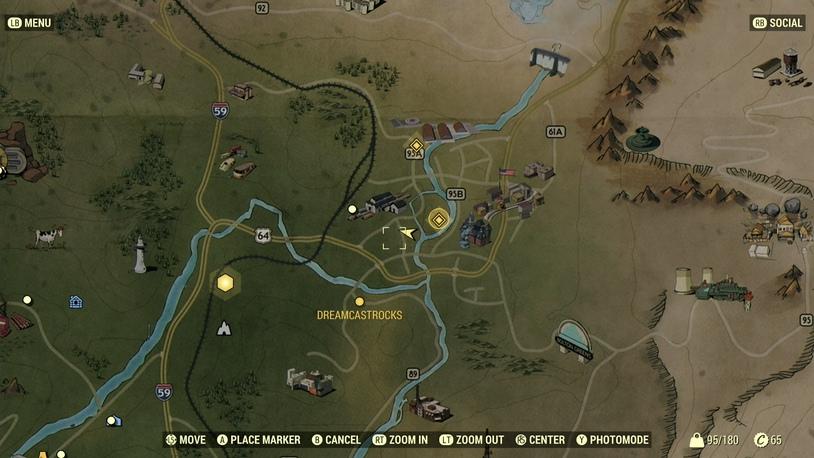 Morgantown Warehouse на карте в Fallout 76