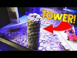 Coin Pusher WINNING HUGE TOWER OF QUARTERS!