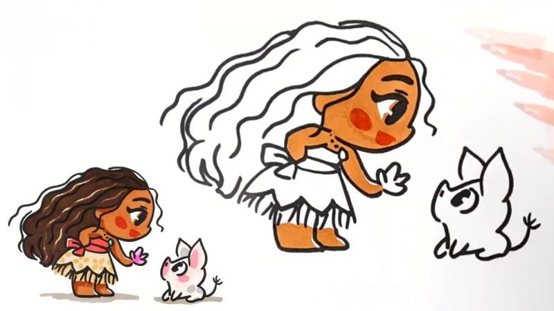 Рисуем малышек принцес. Малышка Рапунцель, Джуди, Моана и Мерида
