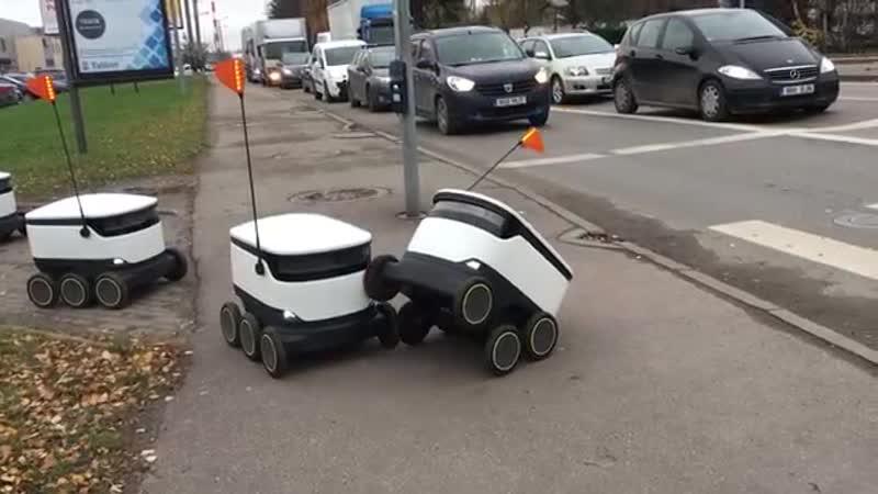 Робот курьер выясняет отношения один против всех Вот такие посыльные у нас перемещаются по городу Таллин Возят все от еды