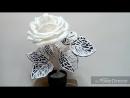 Белая роза с ажурными листьями инь-янь