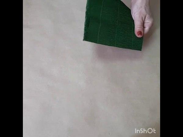 DIY Бесплатный МК Ветка из зелёных листьев из гофрированной бумаги для больших цветов