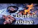 VEAL BONE-IN RIBEYE WITH CHIMICHURRY AND BABY POTATOES |Outdoors Grilled Steak With Roasted Potatoes