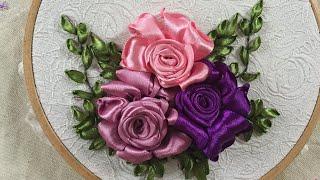 D.I.Y Ribbon Embroidery Hướng dẫn thêu ruy băng hoa hồng
