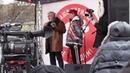 Вика Цыганова и контр-адмирал Василий Попович на митинге в защиту Курильских островов 20.01.2019