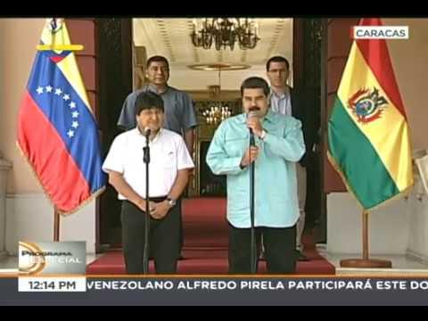 Nicolás Maduro recibe a Evo Morales en Miraflores y dan declaraciones a medios, 15 abril 2018