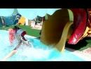 Доченька Карина (в красной шапочке и красном купальнике)в аквапарке в Анапе)