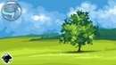 Landscape with a green tree Speed vector art with Inkscape