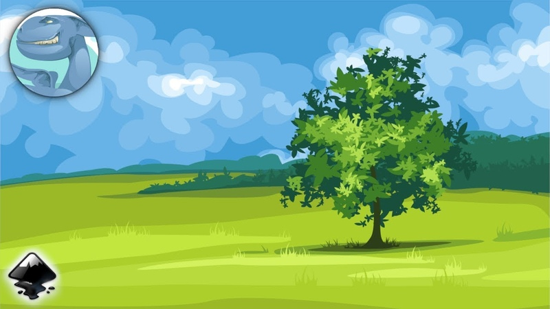 Landscape with a green tree. Speed vector art with Inkscape.