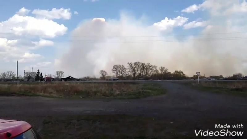 Пожар на дороге между Камышным и Раскатихой
