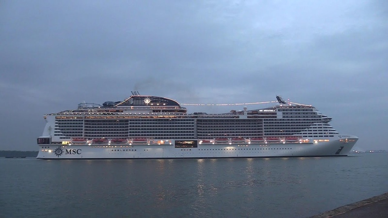 MSC Cruise Ship   'MSC Meraviglia' calls into Southampton from Genoa Italy 24/04/19