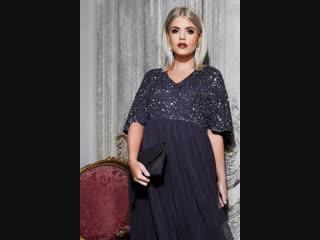 LUXE Темно-синее вечернее платье макси 156352