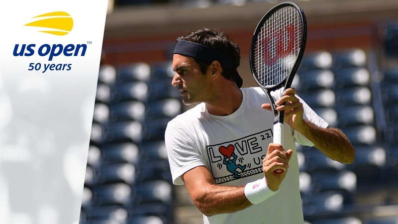 Roger Federer and Marin Cilic Practice Before the 2018 US Open