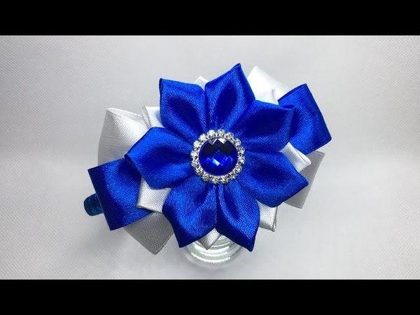 Украшение на ободок Канзаши / Двухцветный бант с цветком