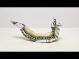 Money ASIAN DRAGON Origami Dollar Tutorial DIY Folded No glue