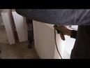 Подрезка листов пенопласта по толщине, выравниваем неровный фасад