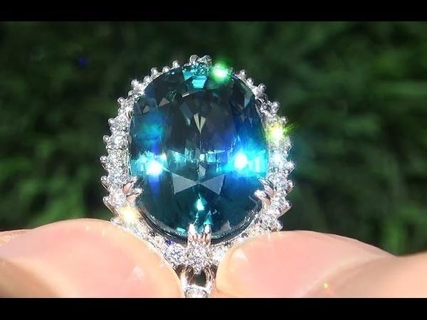 GIA Certified VVS1 Natural Blue Zircon Diamond 14k White Gold Pendant Necklace - C349
