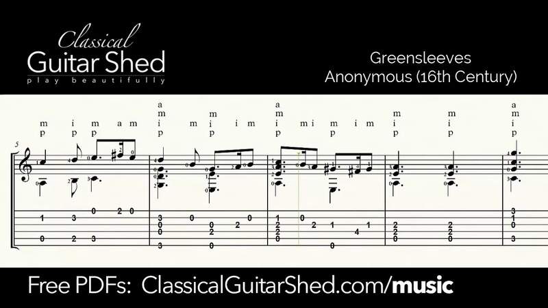 Greensleeves Free sheet music and TABS for classical guitar