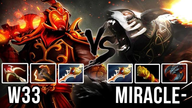 Miracle- Ursa vs w33 Ember Spirit FIRST TIME in Season 2 - Fight of the Titans Rapier Battle Dota 2